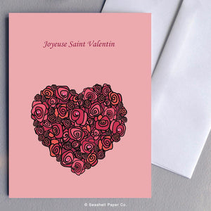 French Love Valentine's Day Roses & Heart Card Wholesale (Package of 6) - seashell-paper-co