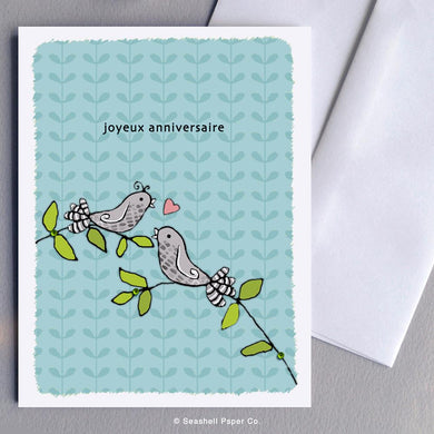 French Love Birds Anniversary Card Wholesale (Package of 6) - seashell-paper-co