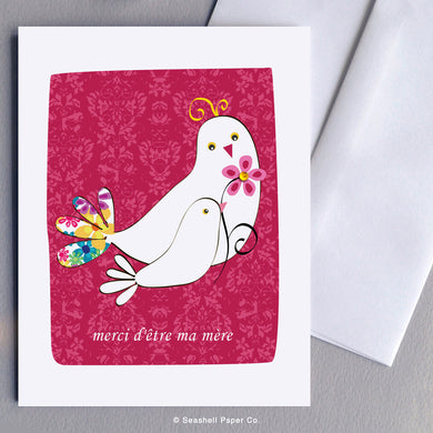 French Maman Dove and Baby Card - seashell-paper-co