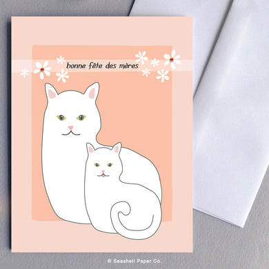 French Card, French Greeting Card, Carte de vœux française, Mother's Day Card, Carte de fête des mères, Thank You For Being My Mother, Merci d'être ma mère, Mother's Birthday Card, Carte d'anniversaire de la mère, Cat and Kitten card, Carte chat et chaton, Seashell Paper Co., Fabriqué au Canada, Made in Canada