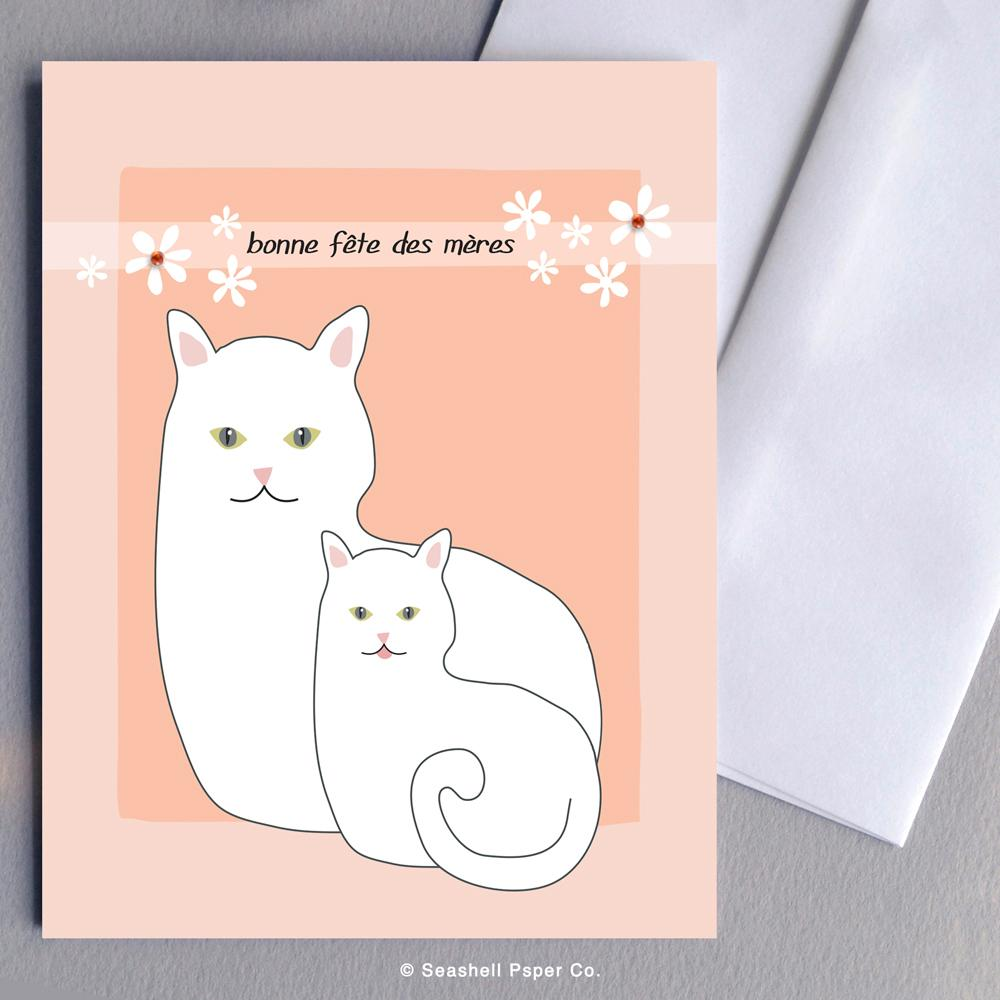 French Mother's Day Cat Card Wholesale (Package of 6)
