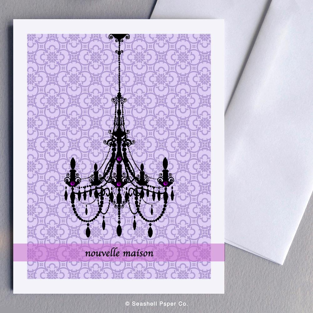 French New Home Chandelier Card Wholesale (Package of 6) - seashell-paper-co