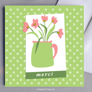 French Card, French Greeting Card, Carte de vœux française, Thanks, Merci, Thank you Card, Je vous remercie, Carte de remerciement, Flower Pot with Flowers Card, Carte avec pot de fleurs, Seashell Paper Co., Made in Canada, Fabriqué au Canada, Stationnaire, Sale, Vente