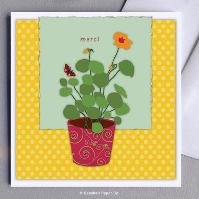 French Thank You Flowers Card Wholesale (Package of 6) - seashell-paper-co