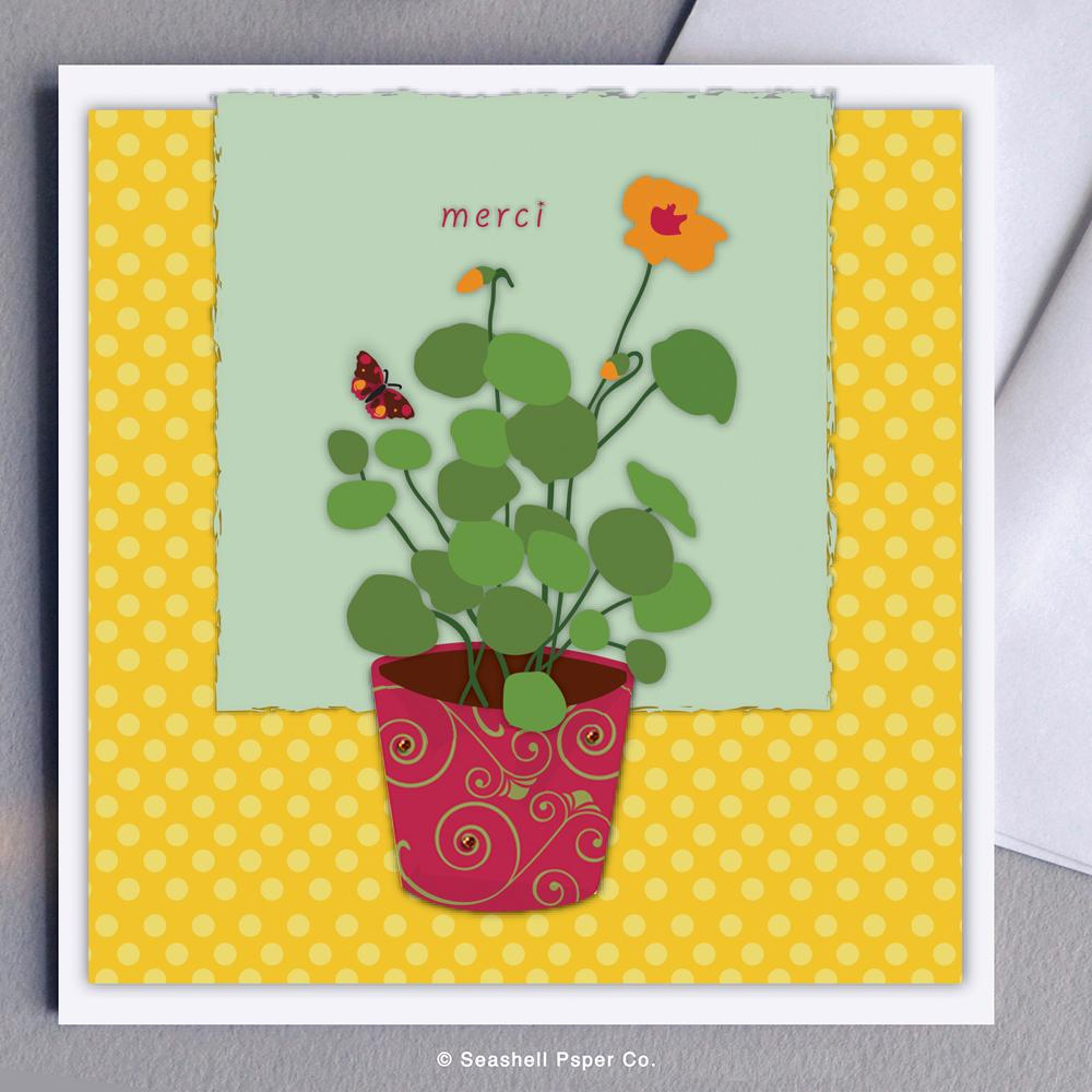 French Thank You Flowers Card Wholesale (Package of 6)
