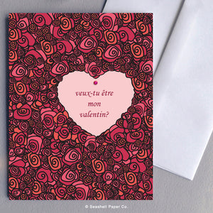 French Card, French Greeting Card, Carte de vœux française, Valentine's Day Card, Valentine Card, Carte de Saint Valentin, Valentin, Joyeuse Saint Valentin, Do you want to be my Valentine, veux-tu être mon valentin, Roses, Des roses, Heart, Cœur, Seashell Paper Co., Made in Canada, Fabriqué au Canada, Stationnaire