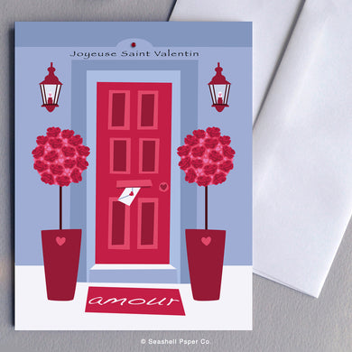 French Love Valentine's Day Front Door Card - seashell-paper-co