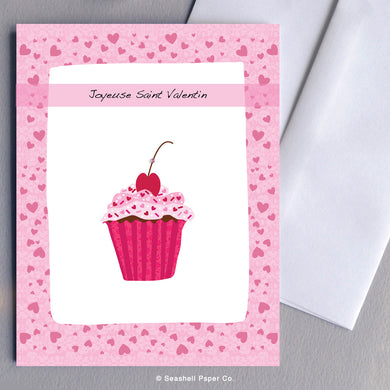French Valentine's Day Cupcake Cherry on Top Card - seashell-paper-co