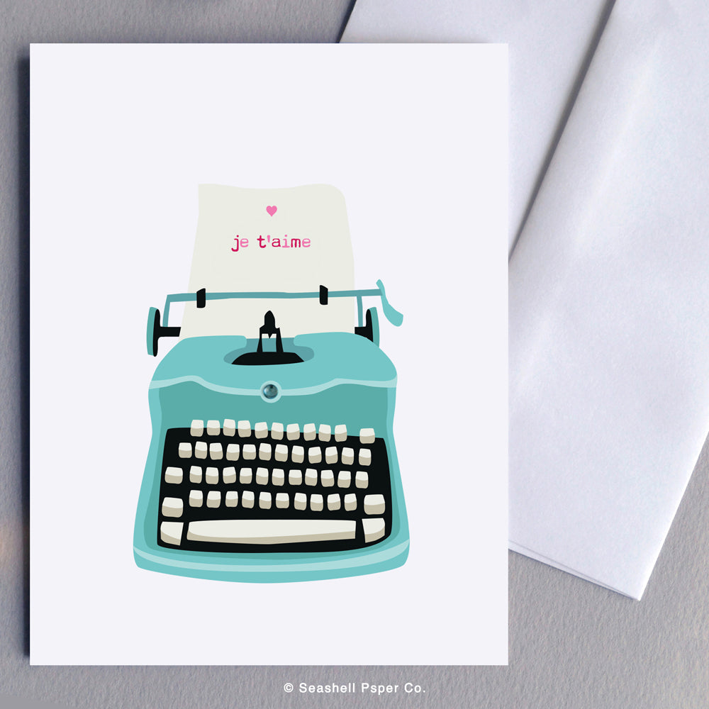 French Love Valentine's Day Typewriter Card - seashell-paper-co