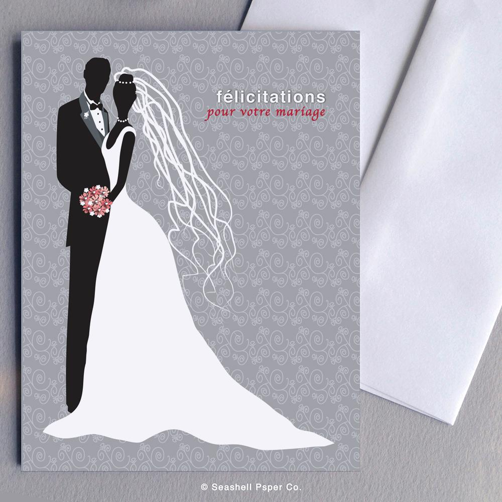 French Weeding Bride & Groom Card Wholesale (Package of 6) - seashell-paper-co