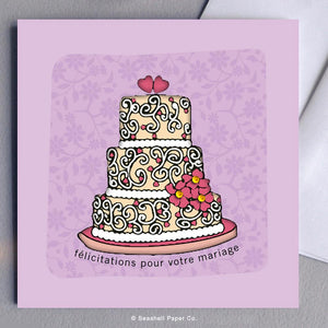 Wedding Cake French Card Wholesale (Package of 6) - seashell-paper-co