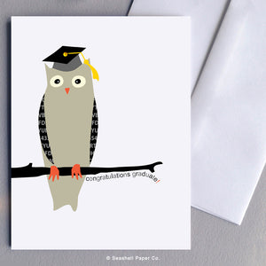 Greeting Card, Graduation, Graduation Card, Graduation Greeting Card, Graduation Congratulations, Graduation Congratulations Card, Graduation Congratulations Greeting Card, Owl, Owl Graduations Congratulations Card, Owl Graduation Congratulations Greeting Card, Seashell Paper Co., Stationary, Made in Canada