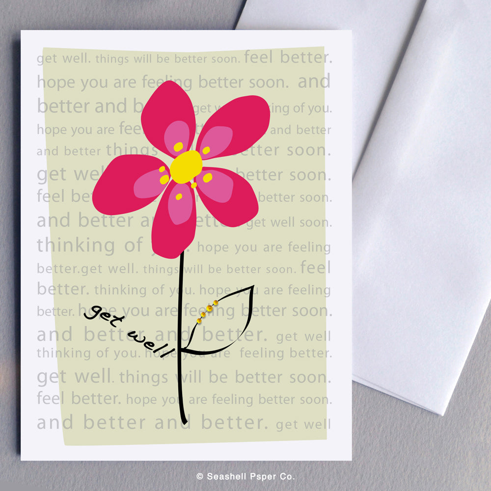 Get Well Flower Card Wholesale (Package of 6)
