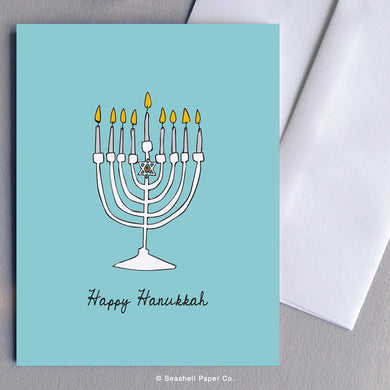 Greeting Card, Hanukkah, Hanukkah Card, Hanukkah Greeting Card, Happy Hanukkah Card, Happy Hanukkah Greeting Card, Menorah, Menorah Card, Menorah Greeting Card, Menorah Hanukkah Card, Menorah Hanukkah Greeting Card, Menorah Happy Hanukkah Card, Menorah Happy Hanukkah Greeting Card, Seashell Paper Co., Made in Canada