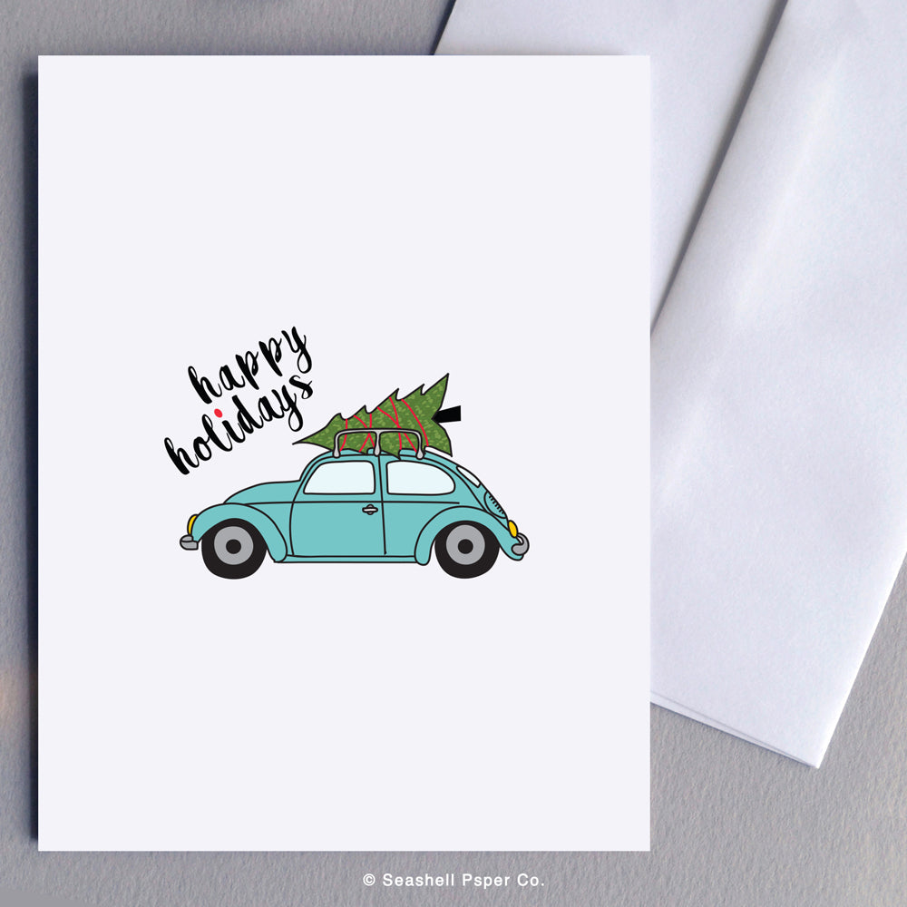 Holiday Season Beetle Bug with Christmas Tree Card - seashell-paper-co