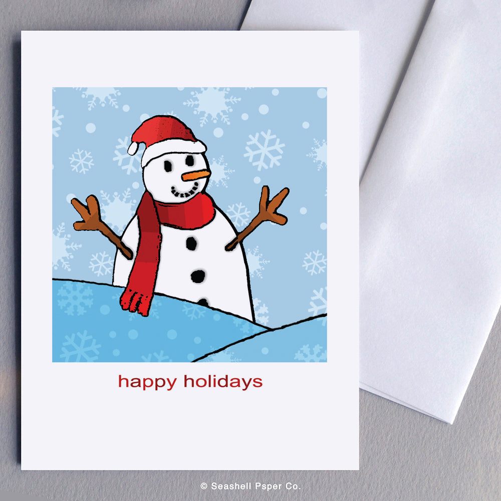 Holiday Seasons Snowman Card - seashell-paper-co