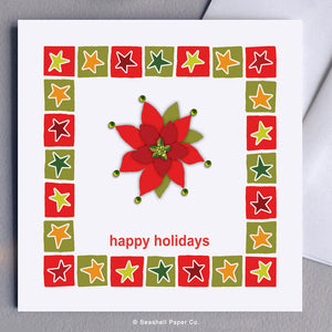 Greeting Cards, Christmas Cards, Christmas Greetings Cards, Holiday Greetings Cards, Happy Holidays, Happy Holidays Cards, Happy Holidays Greeting Cards, Poinsettia, Christmas Poinsettia Card, Happy Holidays Poinsettia, Happy Holidays Poinsettia Christmas Card, Seashell Paper Co., Stationary, Made in Canada, Sale