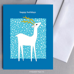 Holiday Seasons Reindeer Card Wholesale (Package of 6) - seashell-paper-co