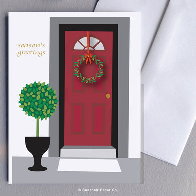 Holiday Seasons Front Door Card - seashell-paper-co