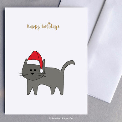 Holiday Season Cat Card - seashell-paper-co