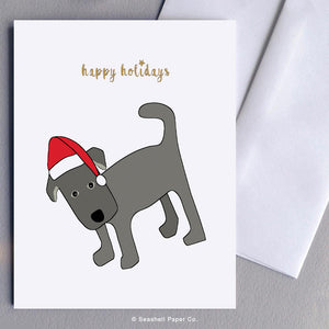 Greeting Cards, Christmas Cards, Christmas Greetings Cards, Holiday Greetings Cards, Happy Holidays, Happy Holidays Cards, Happy Holidays Greeting Cards, Dog, Santa Hat, Dog in Santa Hat, Dog in Santa Hat Holidays Greeting Card, Dog in Santa Hat Happy Holidays Greeting Card, Seashell Paper Co., Made in Canada
