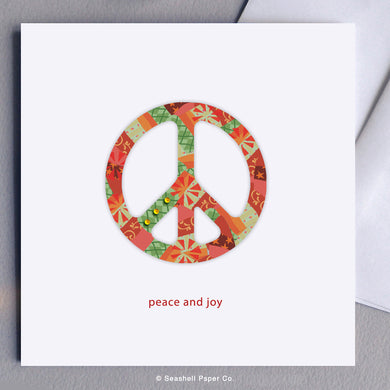 Holiday Seasons Peace And Joy Card - seashell-paper-co