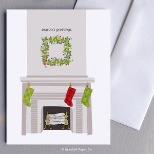 Greeting Cards, Seasons Greeting Cards, Season's Greeting Cards, Christmas Cards, Christmas Greetings Cards, Holiday Greetings Cards, Fireplace, Fireplace Cards, Wreath, Wreath Cards, Fireplace Seasons Greetings, Wreath Seasons Greetings Cards, Wreath and Fireplace Card, Seashell Paper Co., Stationary, Made in Canada