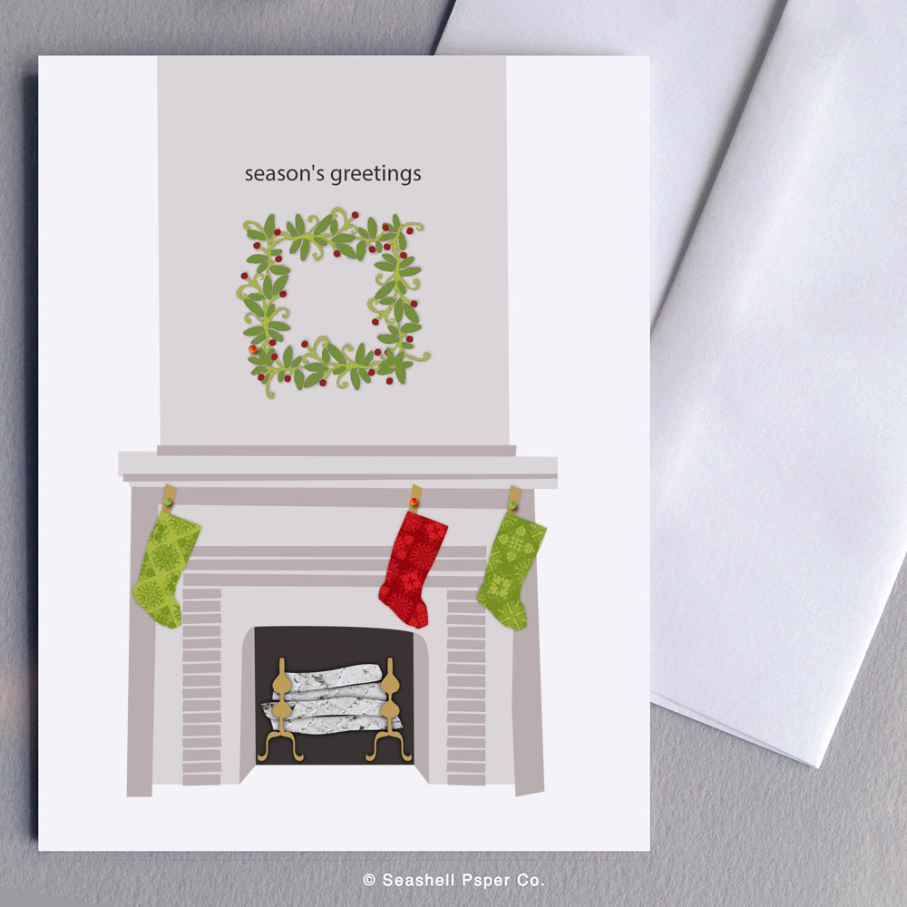 Holiday Seasons Fireplace Card - seashell-paper-co