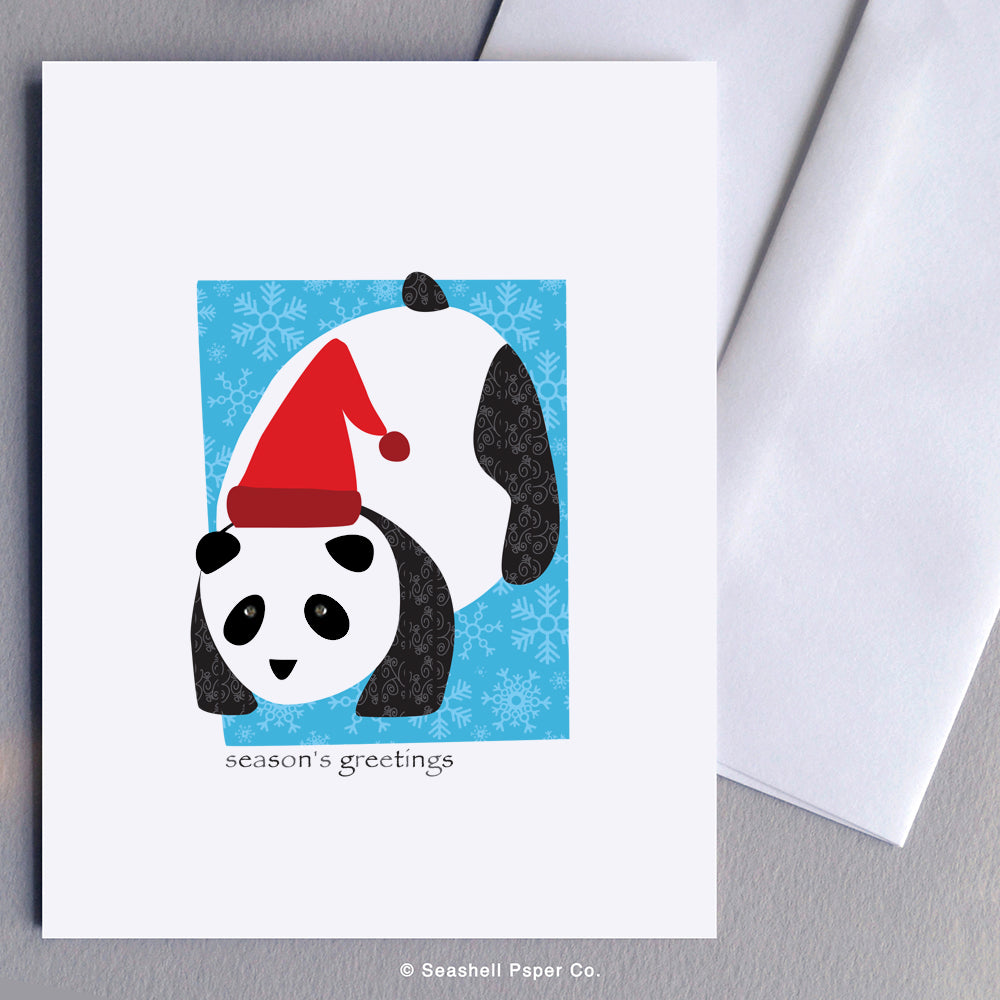 Greeting Cards, Seasons Greetings, Seasons Greeting Cards, Season's Greetings, Season's Greeting Card, Christmas Cards, Christmas Greeting Cards, Holiday Greeting Cards, Panda, Panda Card, Panda Seasons Greetings Card, Panda Season's Greetings Card, Santa Hat, Seashell Paper Co., Stationary, Made in Canada, Sale