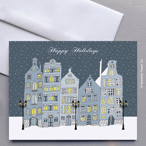 Greeting Cards, Seasons Greetings, Seasons Greeting Cards, Christmas Cards, Christmas Greeting Cards, Holiday Greeting Cards, Happy Holidays, Happy Holidays Card, Happy Holidays Greeting Card, Houses, Buildings, Street, Snow Fall, Architecture, Snowy Evening, Snowy Night, Seashell Paper Co., Stationary, Made in Canada