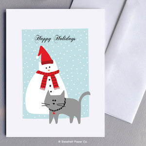 Holiday Season Snowman and Cat Card - seashell-paper-co