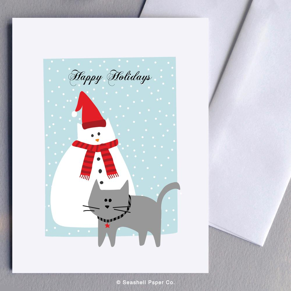 Holiday Season Cat Snowman Card Wholesale (Package of 6) - seashell-paper-co