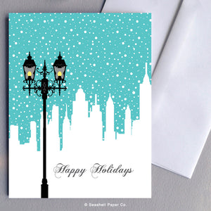 Holiday Seasons Lamp Post Card - seashell-paper-co