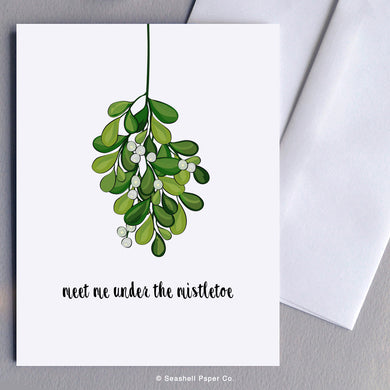 Holiday Season Mistletoe Card Wholesale (Package of 6) - seashell-paper-co