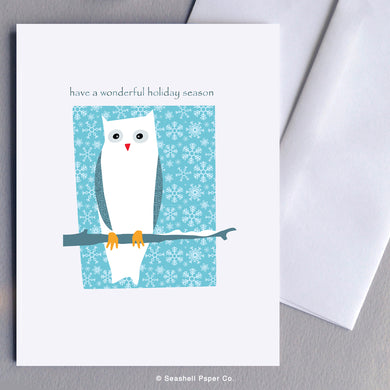 Holiday Seasons Owl Card - seashell-paper-co