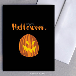Greeting Card, Halloween, Halloween Card, Halloween Greeting Card, Happy Halloween, Happy Halloween Card, Happy Halloween Greeting Card, Pumpkin, Pumpkin Halloween Card, Pumpkin Halloween Greeting Card, Pumpkin Happy Halloween Card, Pumpkin Happy Halloween Greeting Card, Seashell Paper Co., Stationary, Made in Canada