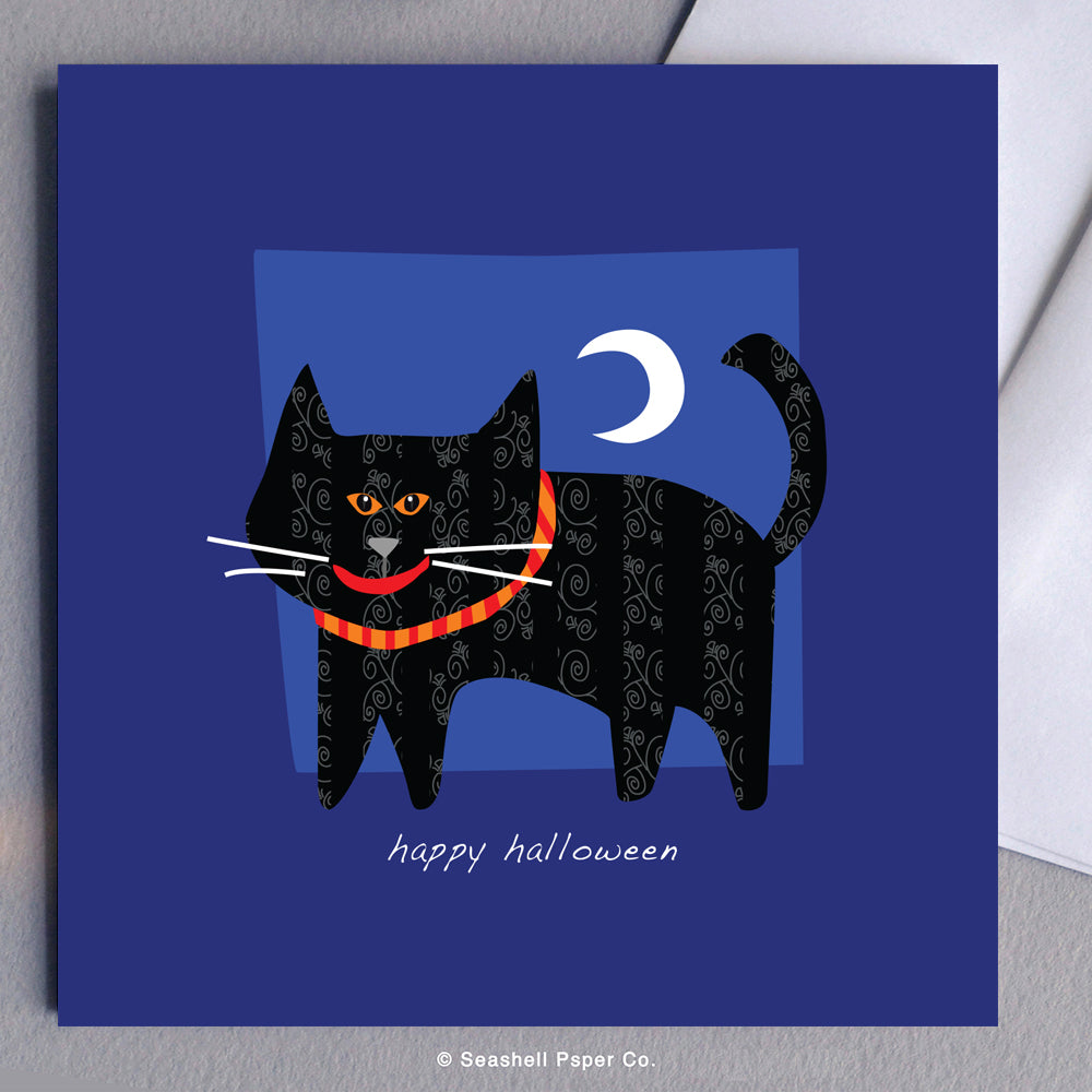 Halloween Black Cat Card - seashell-paper-co