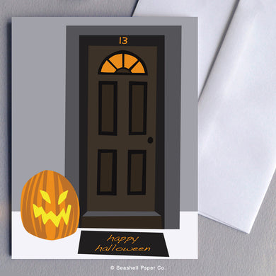 Greeting Card, Halloween, Halloween Card, Halloween Greeting Card, Happy Halloween, Happy Halloween Card, Happy Halloween Greeting Card, Pumpkin, Pumpkin Halloween Card, Pumpkin Halloween Greeting Card, Pumpkin Happy Halloween Card, Pumpkin Happy Halloween Greeting Card, Front Door, Seashell Paper Co., Made in Canada
