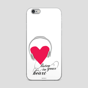 Listen to Your Heart iPhone Case - seashell-paper-co