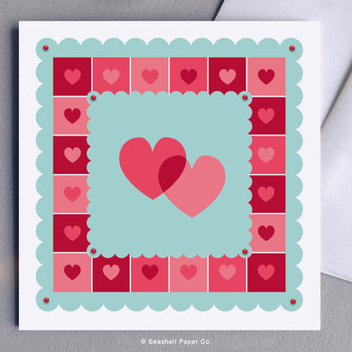 Greeting Cards, Valentine, Valentine's Day, Valentine's Day Card, Valentine's Day Greeting Card, Hearts, Two Hearts Valentine's Day Card, Be my Valentine, Be My Valentine Card, Be My Valentine Greeting Card, Seashell Paper Co., Stationary, Made in Canada, Sale
