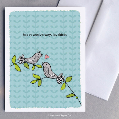 Anniversary Love Birds Card - seashell-paper-co