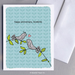 Happy Anniversary Card, Happy Anniversary, Anniversary Card, Anniversary, Love Bird Card, Love Birds Card, Love Birds, Greeting Card, Stationary, Seashell Paper Co., Made in Canada