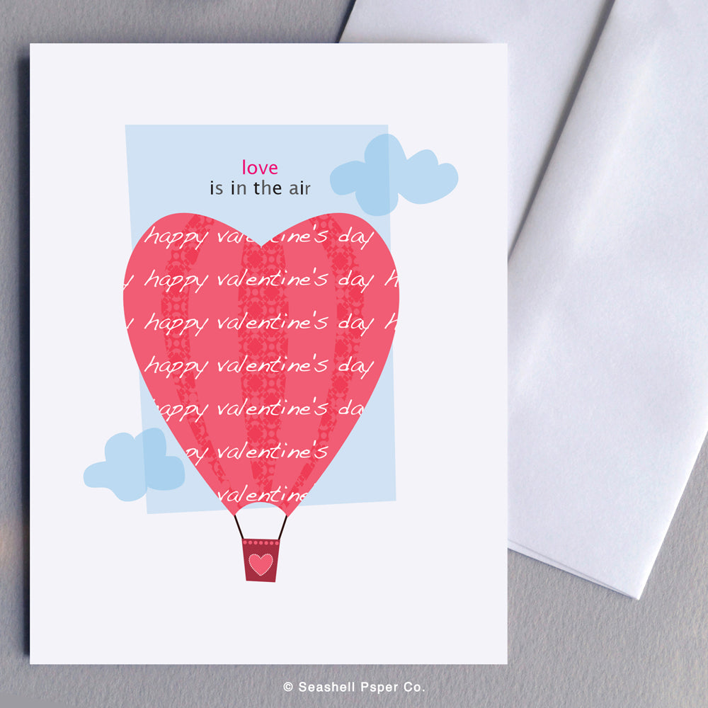 Love Valentine's Day Hot Air Balloon Card - seashell-paper-co