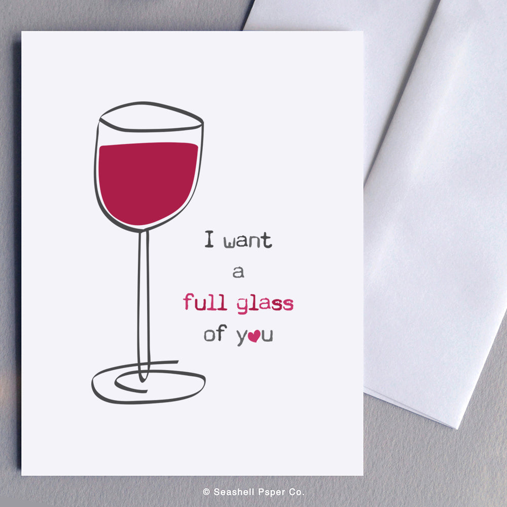Love Wine Glass Card Wholesale (Package of 6) - seashell-paper-co