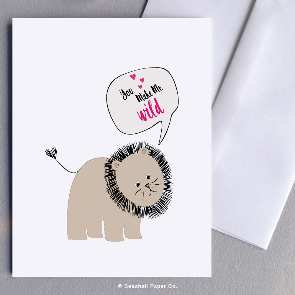Love Card, Love, Valentine's Day Card, Valentine Card, Valentine, Lion Card, Lion, Anniversary Card, Anniversary, Lion Anniversary Valentine Card, Lion Anniversary Greeting Card, You Make Me Wild, Greeting Card, Stationary, Seashell Paper Co., Made in Canada