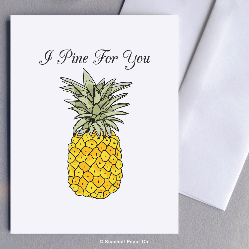 Love Card, Love, Valentine's Day Card, Valentine Card, Valentine, Pineapple Card, Pineapple, Miss You Card, Miss You, Anniversary Card, Anniversary, Missing You, Missing You Card, I Pine for You Card, I Pine for You, Pineapple Missing You Greeting Card, Greeting Card, Stationary, Seashell Paper Co., Made in Canada