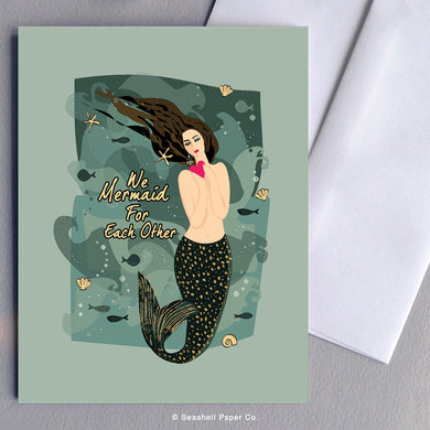 Greeting Cards, Love, Love Greeting Card, I Love You, I Love You Greeting Card, Valentine, Valentine's Day Greeting Card, Anniversary, Anniversary Greeting Card, Mermaid, Mermaid I Love You Greeting Card, Mermaid Valentine's Day Greeting Card, Mermaid Anniversary Greeting Card, Seashell Paper Co., Made in Canada