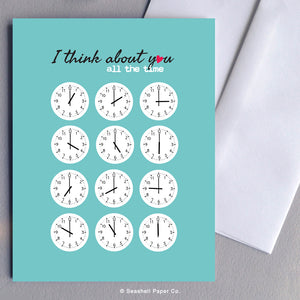 Greeting Cards, Love, Love Greeting Card, Thinking of You, Thinking of You Greeting Card, Valentine, Valentine's Day Greeting Card, Anniversary, Anniversary Greeting Card, Cocks, Clock Love Greeting Card, Clock Thinking of You Card, Clock Thinking of You Greeting Card, Seashell Paper Co., Stationary, Made in Canada