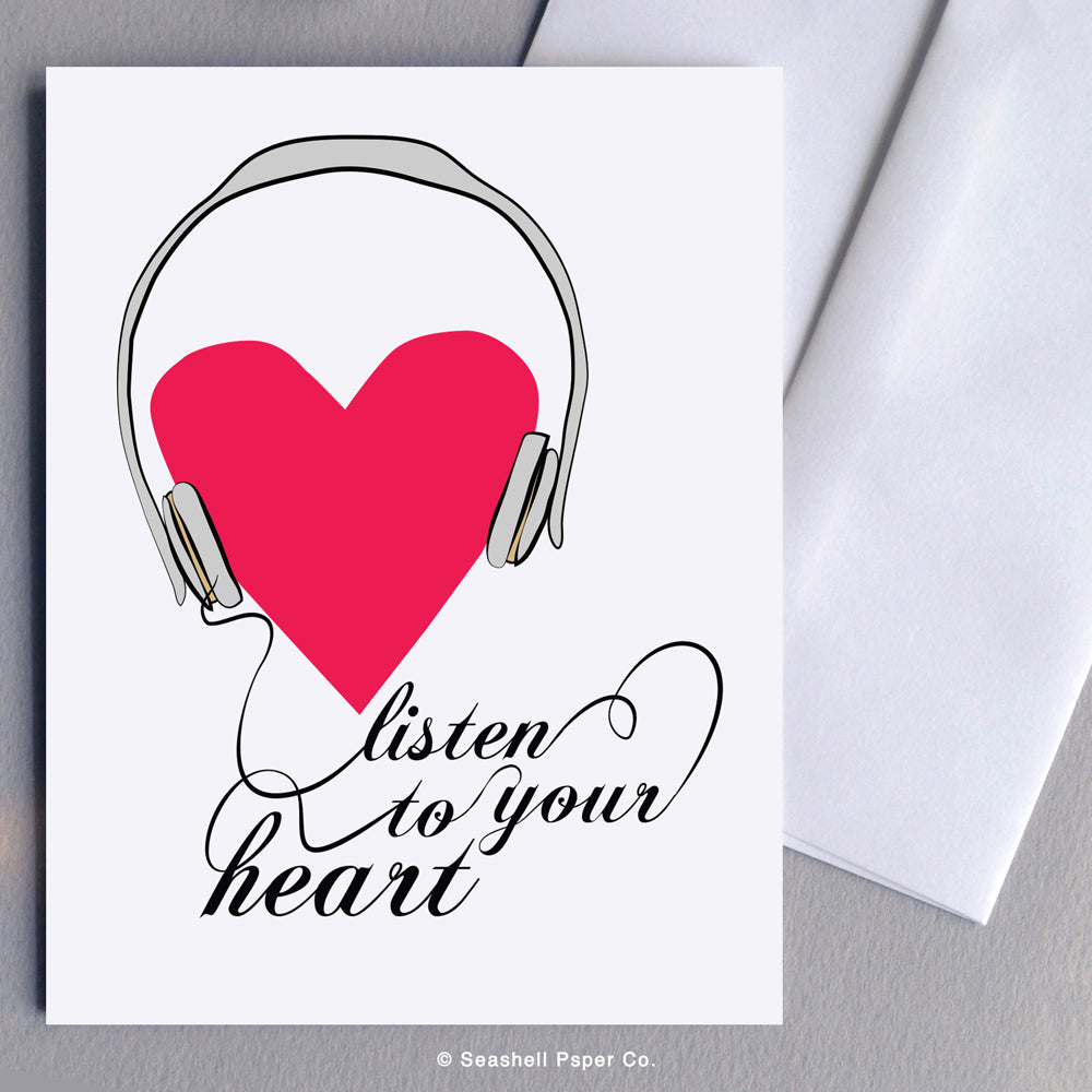 Greeting Cards, Love, Love Greeting Card, Valentine, Valentine's Day Greeting Card, Anniversary, Anniversary Greeting Card, Heart, Heart Love Greeting Card, Heart Valentine's Day Greeting Card, Heart Anniversary Greeting Card, Listen to Your Heart, Listen to Your Heart Greeting Card, Seashell Paper Co., Made in Canada