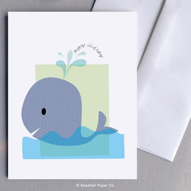 Birthday Whale Card Wholesale (Package of 6) - seashell-paper-co